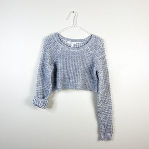 Crop Top Knit Women's Gray Sweater Knitted Cropped